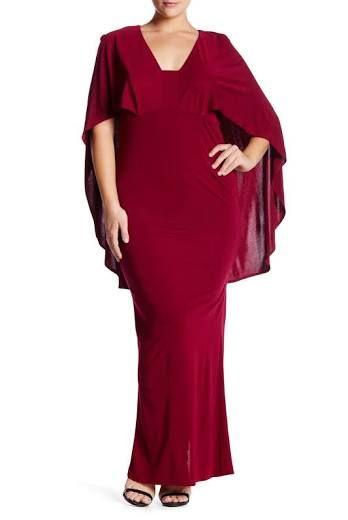 59989e305eb ABS by Allen Schwartz Popover Cape Gown (Plus Size) at Nordstrom Rack - Womens  Plus-Size Dresses