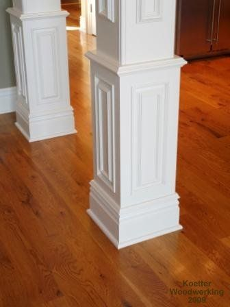 Nice column molding idea for covering up basement support for Support column ideas