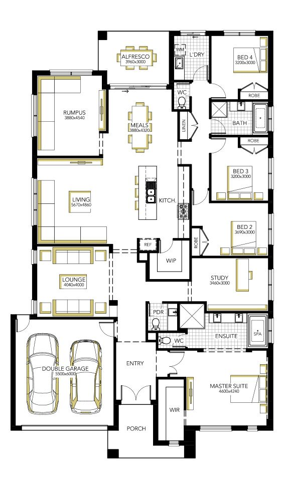 Floorplan 33 Make Study Into Bedroom, Lounge Into Study By Making Living  Bigger? Main Ensuite Smaller By Removing Bath. More Linen, WIP, Drop Zone  Near ...