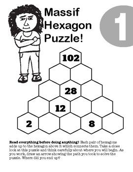 MASSIF Hexagon puzzles featuring addition, subtraction