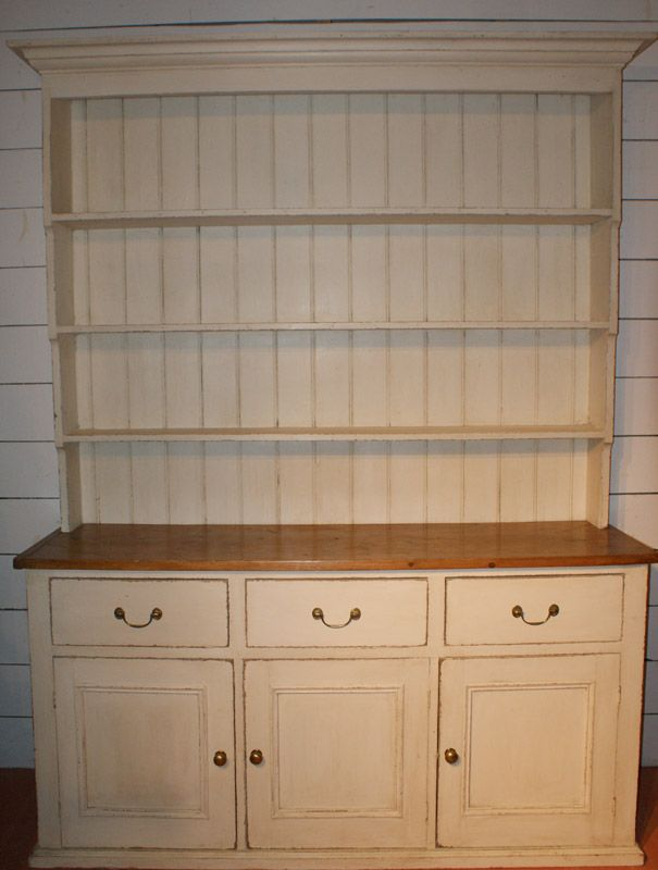 19th C Cream Painted Country House Dresser