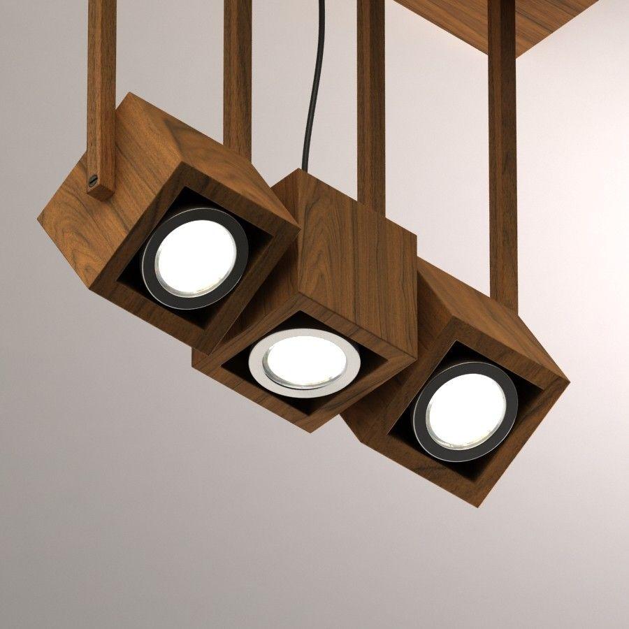 Wooden triple pendant light 3d model files max2012 3ds dwg obj fbx revit rfa model 7 00