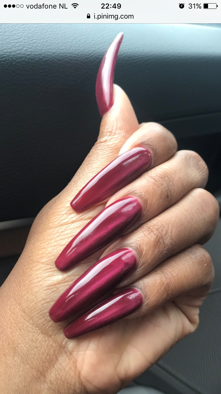 Dark Red Long Nails Long Red Nails Long Acrylic Nails Coffin Long Acrylic Nails