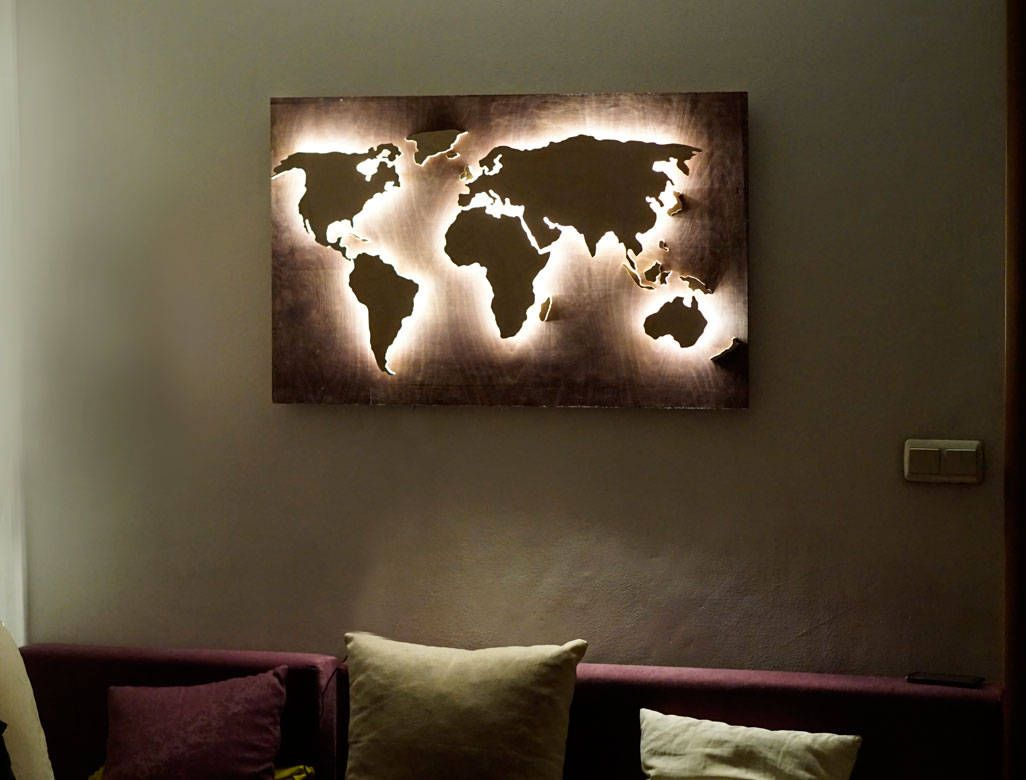 Led Wood World Map Abstract Art World Map Hanging World Map 3d