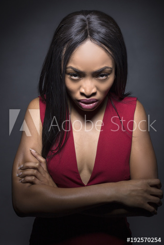 Black Female Model On A Dark Background With Angry Expressions Buy This Stock Photo And Explore Similar Images At Ado Black Female Model Female Models Model