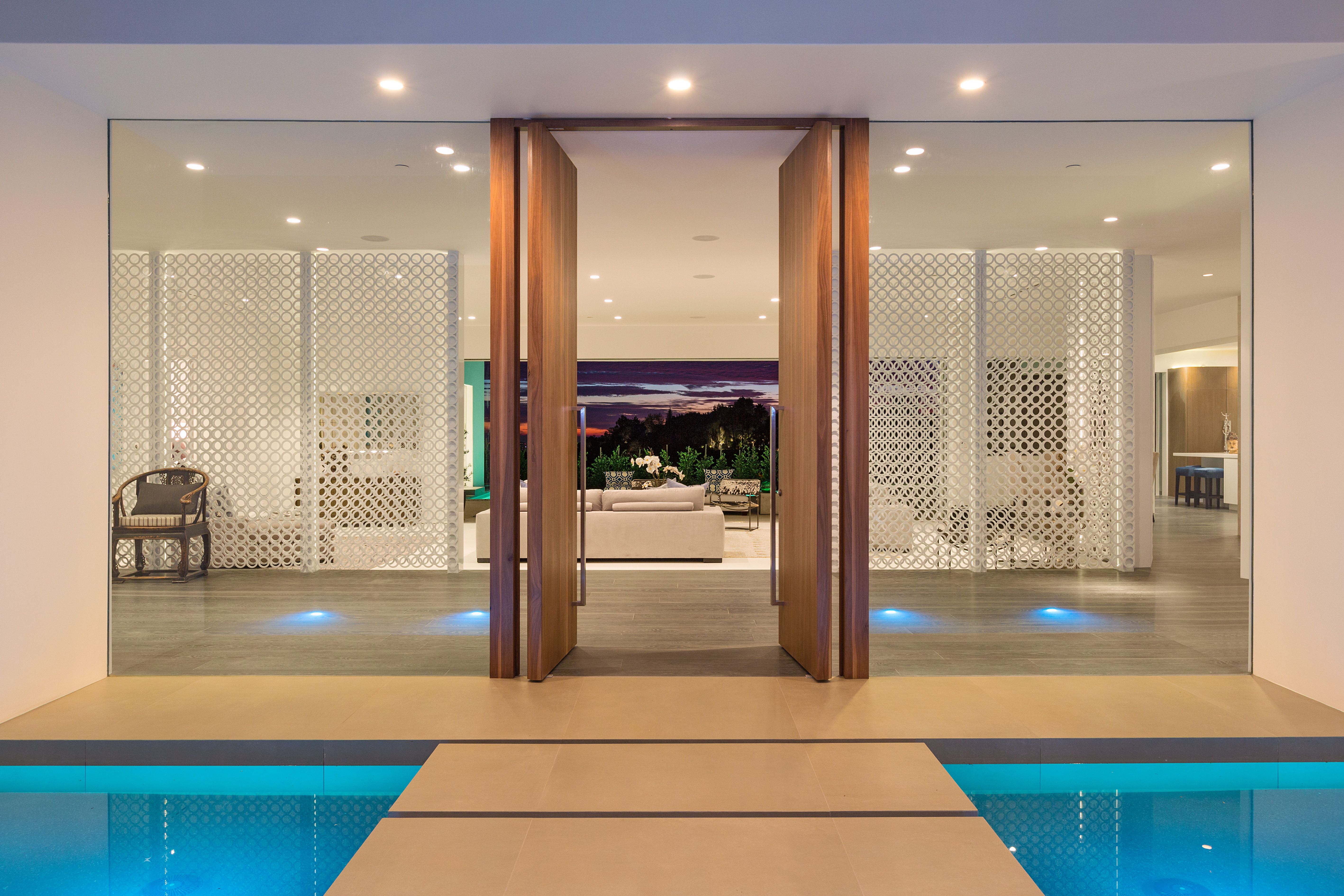 Water Feature Front Door Modern Front Entry At Hillcrest