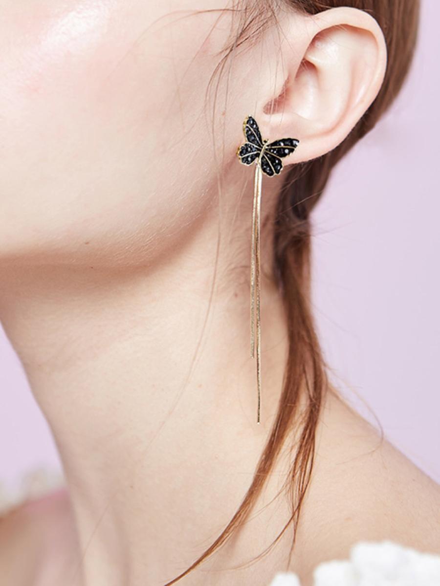 3c8ed0fb90 Butterfly Design Drop Earrings -SheIn(Sheinside) | Little Bling ...