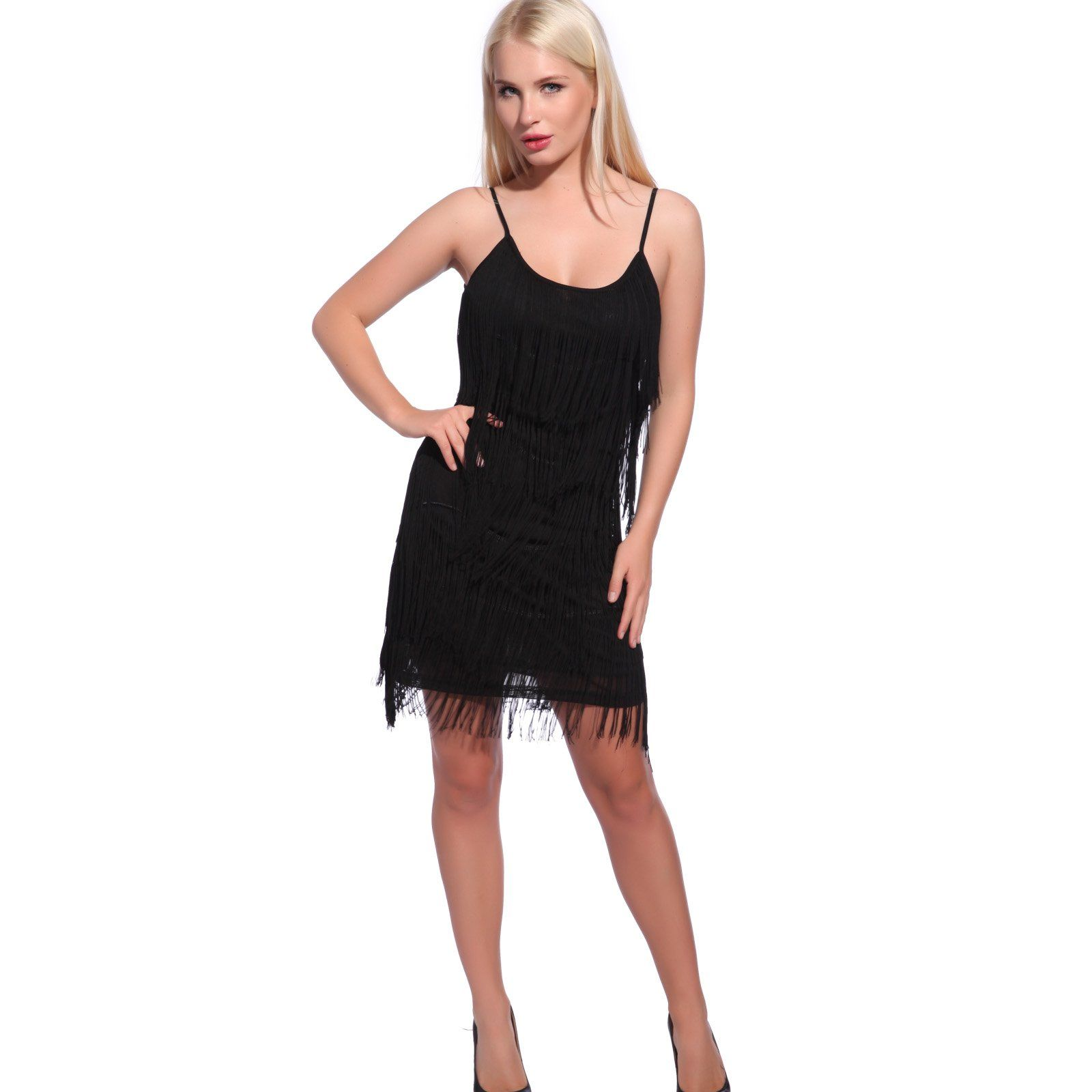 Sexy Minikleid Trägerkleid mit 5 Reifen Fransen Partykleid ...