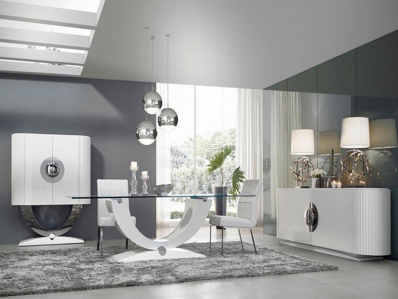 zona de comedor en lnea moderna aparador curvado en laca alto brillo blanca con detalles