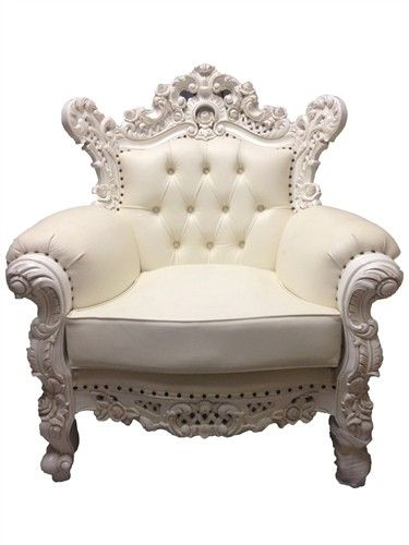 Rococo Antique Armchair White Leather | Sofa set designs ...