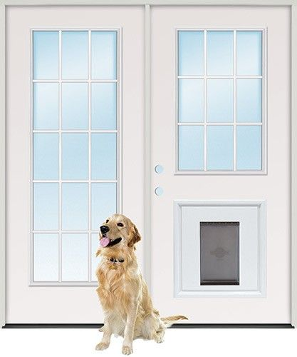 Steel Patio Prehung Double Door Unit with Pet Door Insert- French doors with doggie door