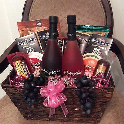 Wine, Cheese And Chocolate Gift Basket #christmasbasketgiftideas Wine, Cheese An…
