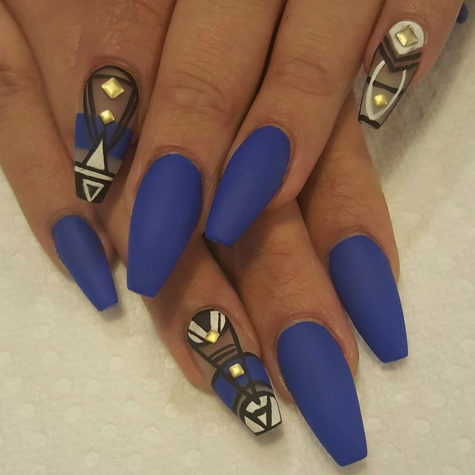 Matte Blue Pointed Tip Nail Polish | Fierce Fashion Forward ...