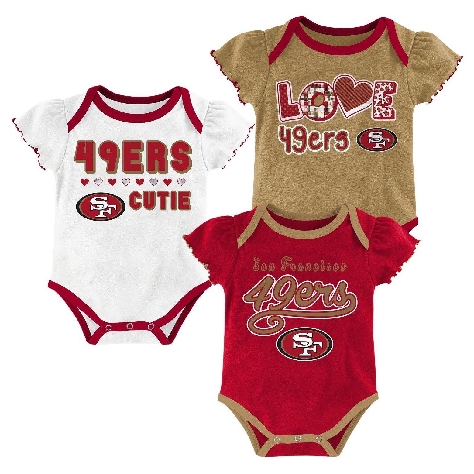 NFL San Francisco 49ers Baby Girls 3pk Bodysuit Set