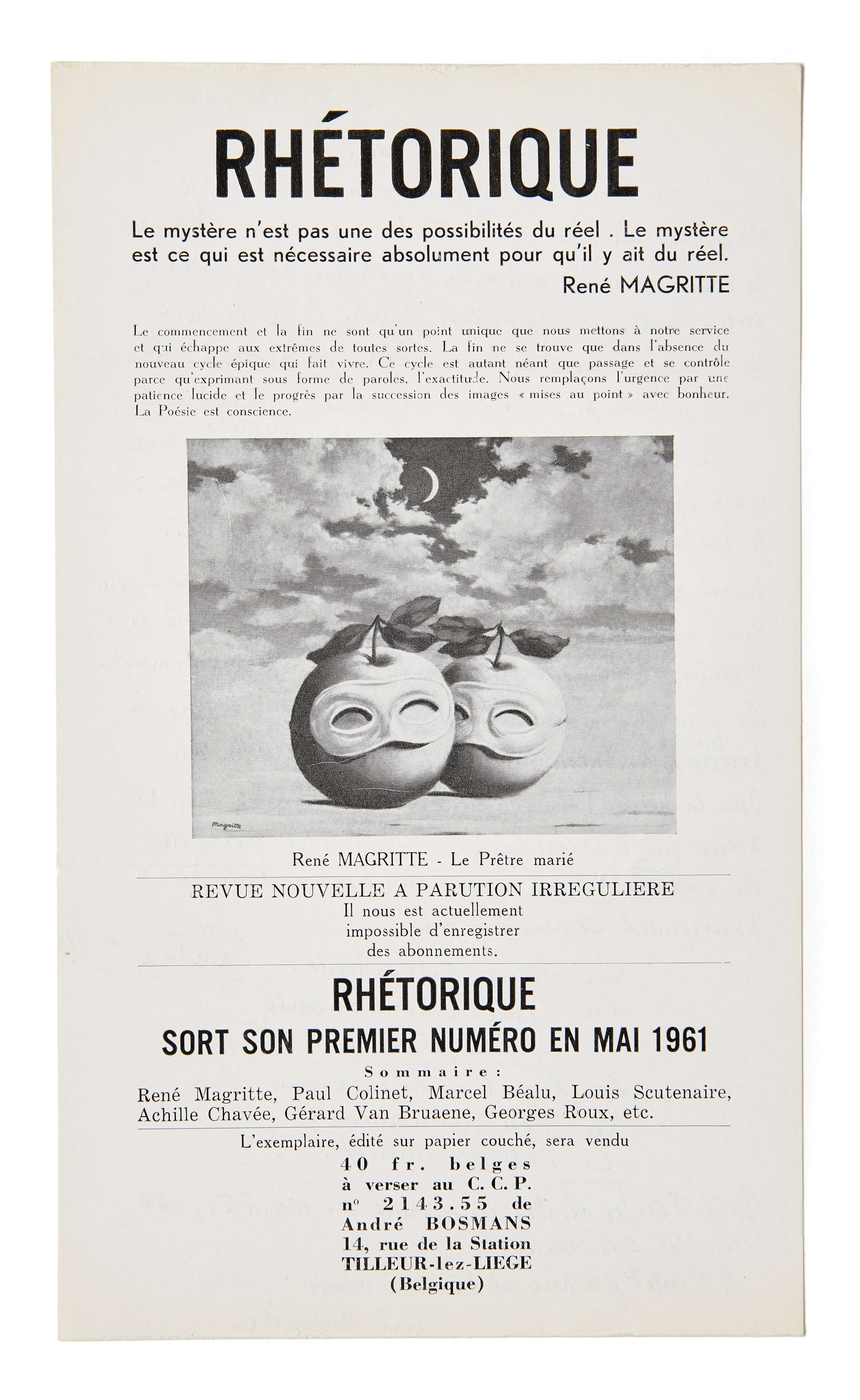 """Persian Letters"""" 1958 René Magritte Rene Magritte"""