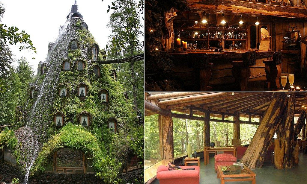 Montana Magica Lodge, Onesco Nature Reserve, Southern Chile : Rainforest hotel shaped like a volcano that spews water and is only accessible by rope bridge