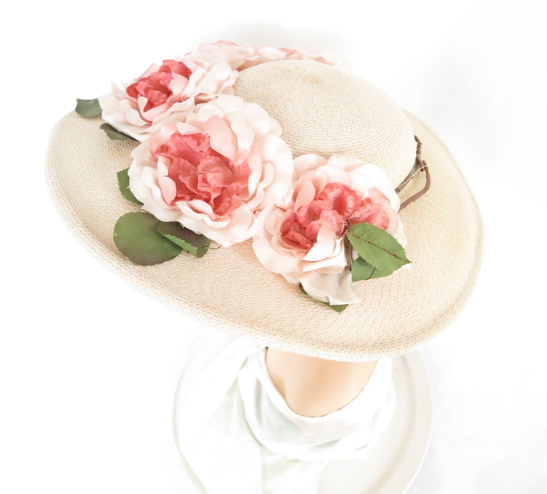 Pink 1940s 1950s Hat Vintage Flowers Woman S Wide Brim Picture Hat Hats Vintage Fedora Hat Women Hats For Women