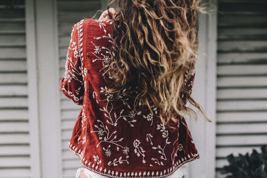awesome embroidered red jacket