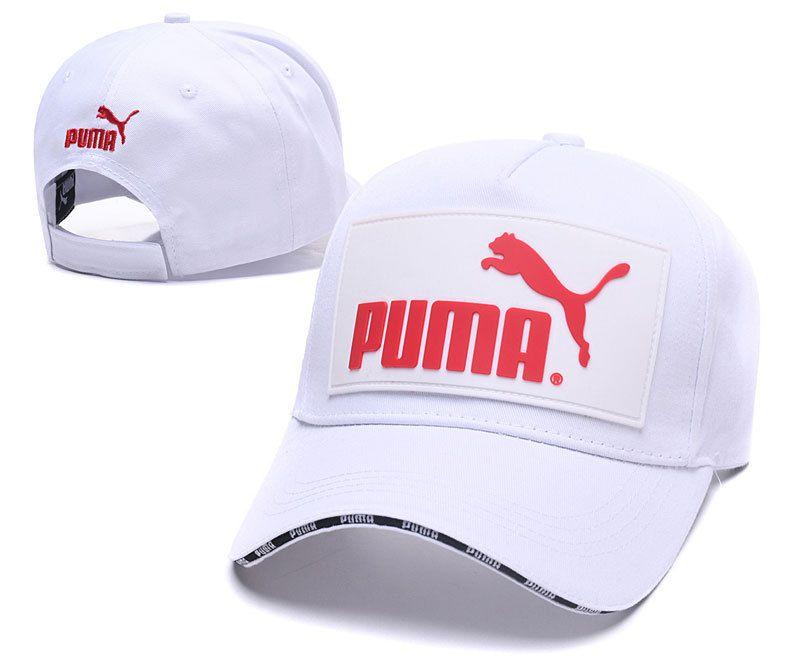 07cc8b1cbe5 Men s   Women s Puma The Logo Rubber Patch Stitched Curved Dad Cap - White    Red (Copy Ori)