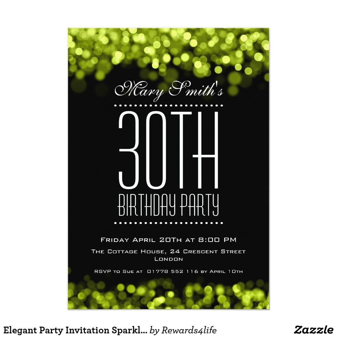 Elegant Party Invitation Sparkling Lights Green Zazzle Com Party Invitations Elegant Party Green Invitations
