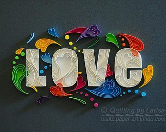Quilling paper art Quilling wall art Paper quilling Love   Etsy