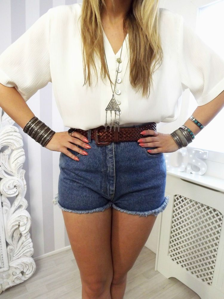 Pearl Button Baggy Slit 90s VTG GRUNGE CHIC Festival Boho Blouse crop top 10 12 Urban outfitters