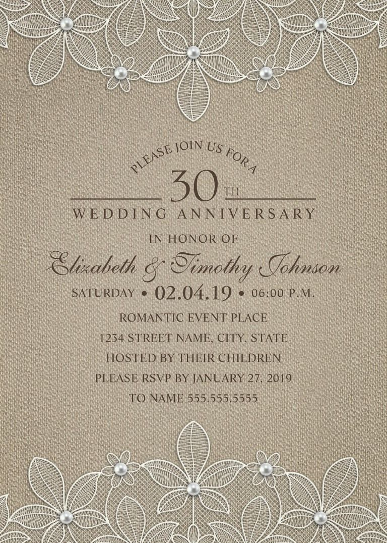 Rustic Burlap 30th Wedding Anniversary Invitations - Lace and Pearls ...