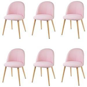 MACARON Lot de 6 chaises en tissu rose pastel - Pieds en bois - Style  scandinave 779aeea581a1