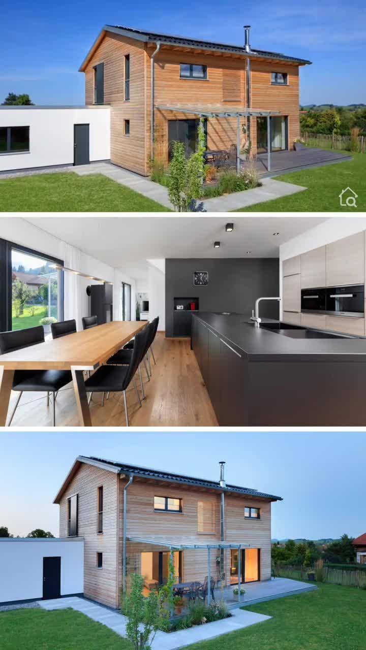 Holzhaus modern mit Satteldach, Garage & Holz Putz Fassade bauen, Haus Design Ideen Fertighaus