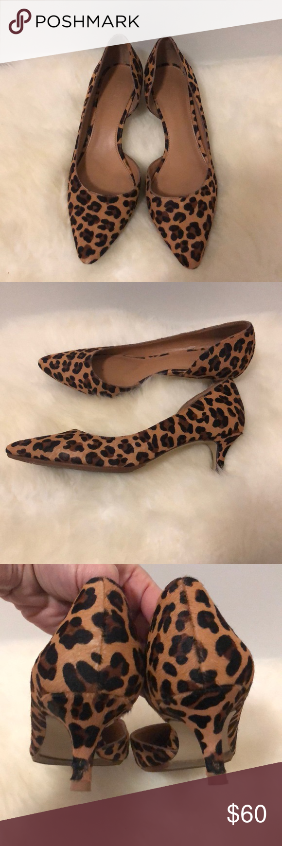 e23a8452c373 J Crew Leopard Calf hair kitten heels Classic J Crew calfhair leopard print  kitten heels. Some wear on heels and pointed tips. Work a few times