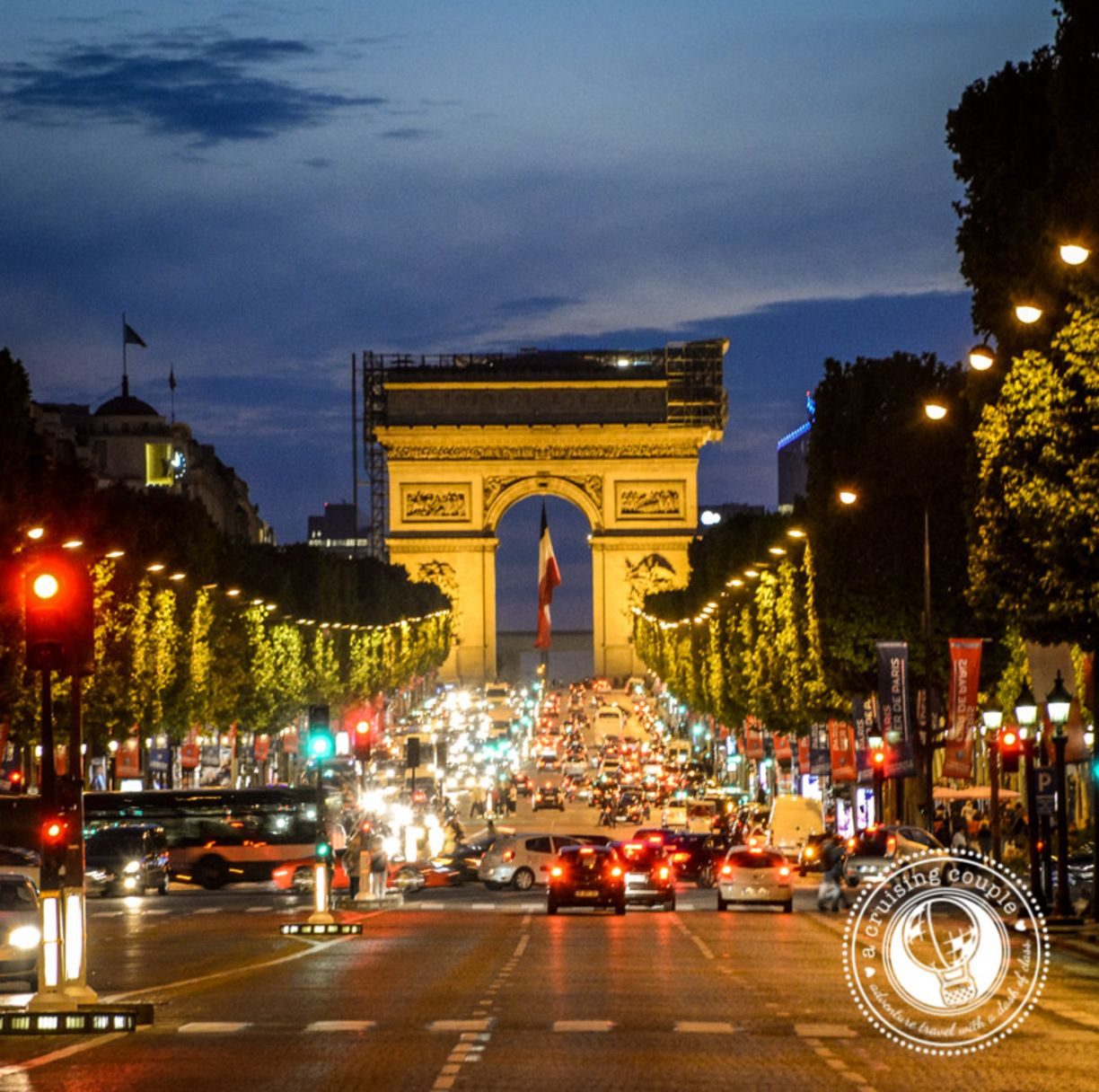 Arc de Triomphe, Paris, France - Ah Paris at midnight. Still as lively as ever. If you want a great view of the Arc, the Tower and surrounding city head up to the top floor of the bar La Vue just up the road.