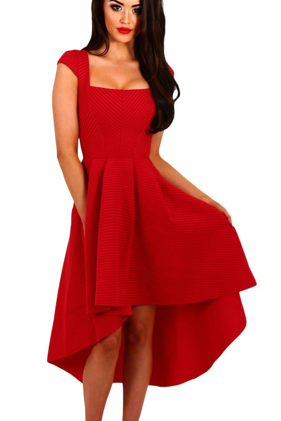 fb917aa054f Robe Rouge Swing Mi-Longue Courte Devant Longue Derriere Col Carre Raye Pas  Cher www.modebuy.com  Modebuy  Modebuy  Rouge  robes  me  style