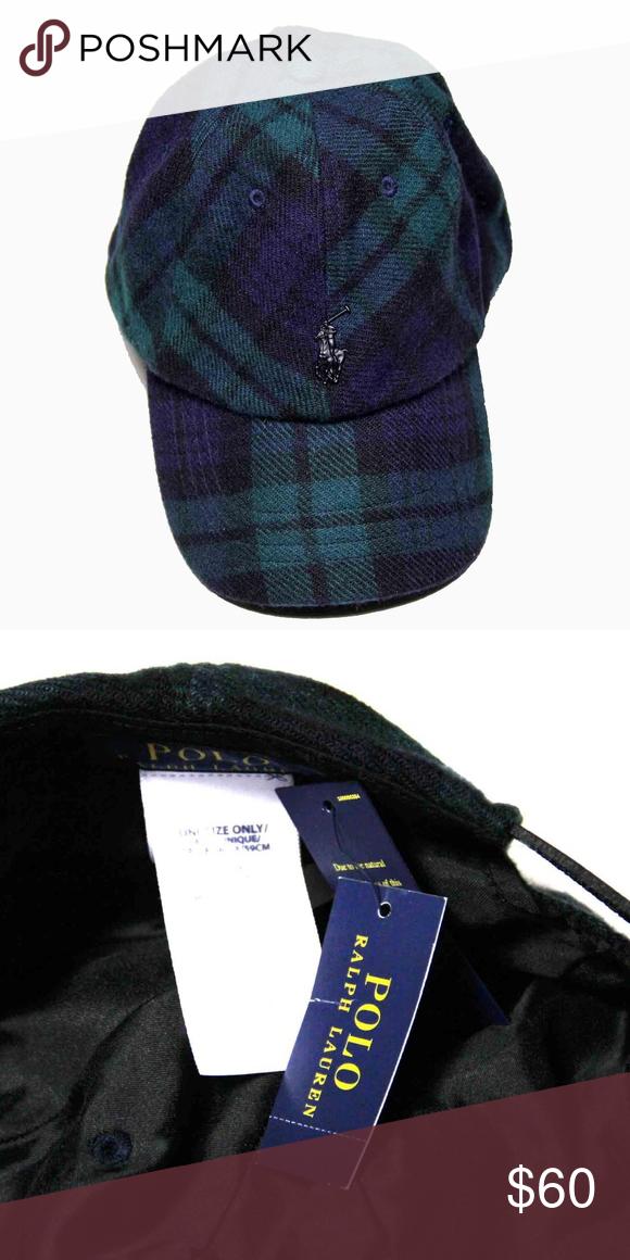 11f0b42e8d0 Mens Polo Ralph Lauren Plaid Cap Wool Blend OS Brand new