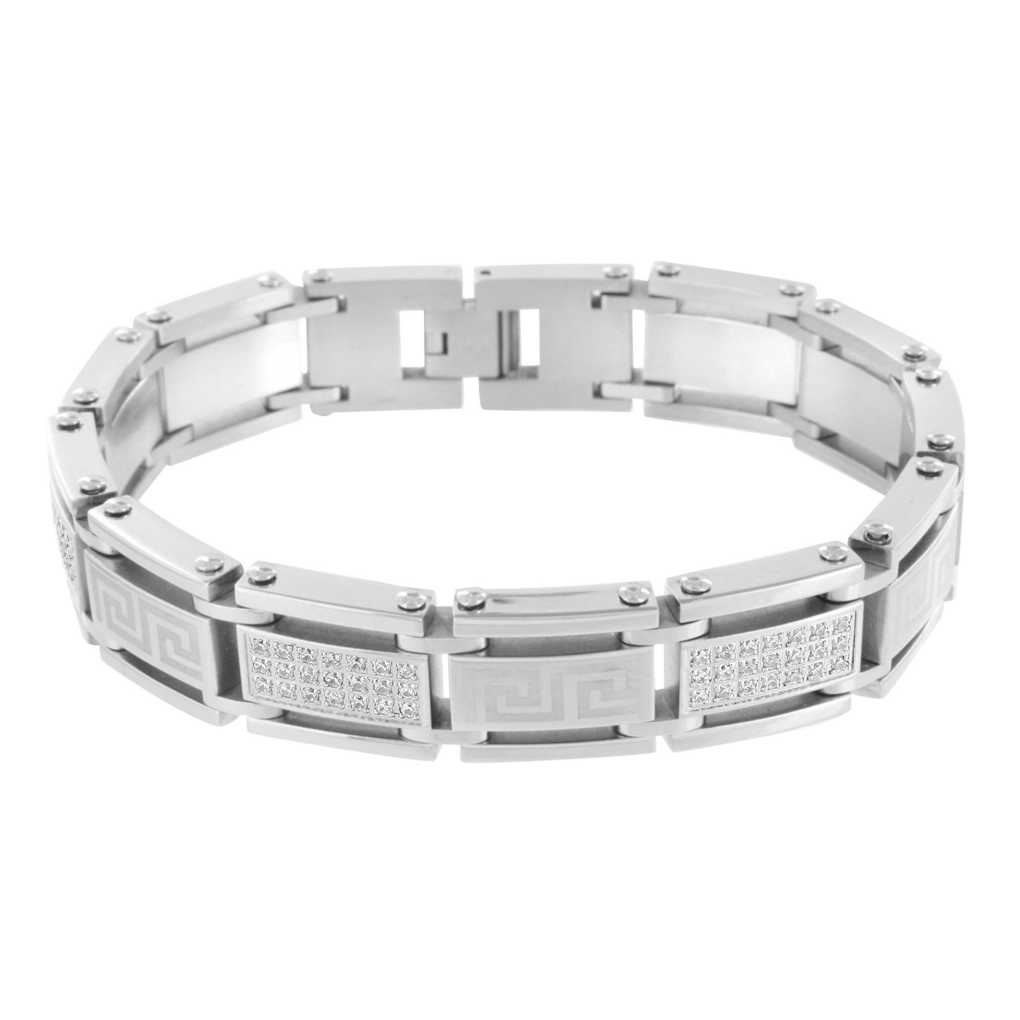 Medusa greek design bracelet white gold over stainless steel