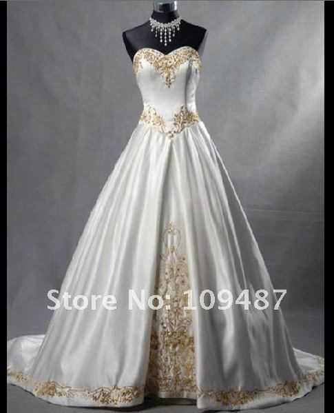 Satin White Long-Trailed Gold Embroidered Wedding Dress. Great for ...