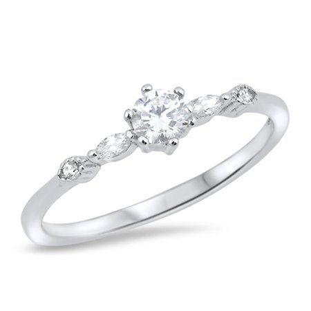 CHOOSE YOUR COLOR Solitaire Round White CZ Wedding Ring New .925 Sterling Silver Band