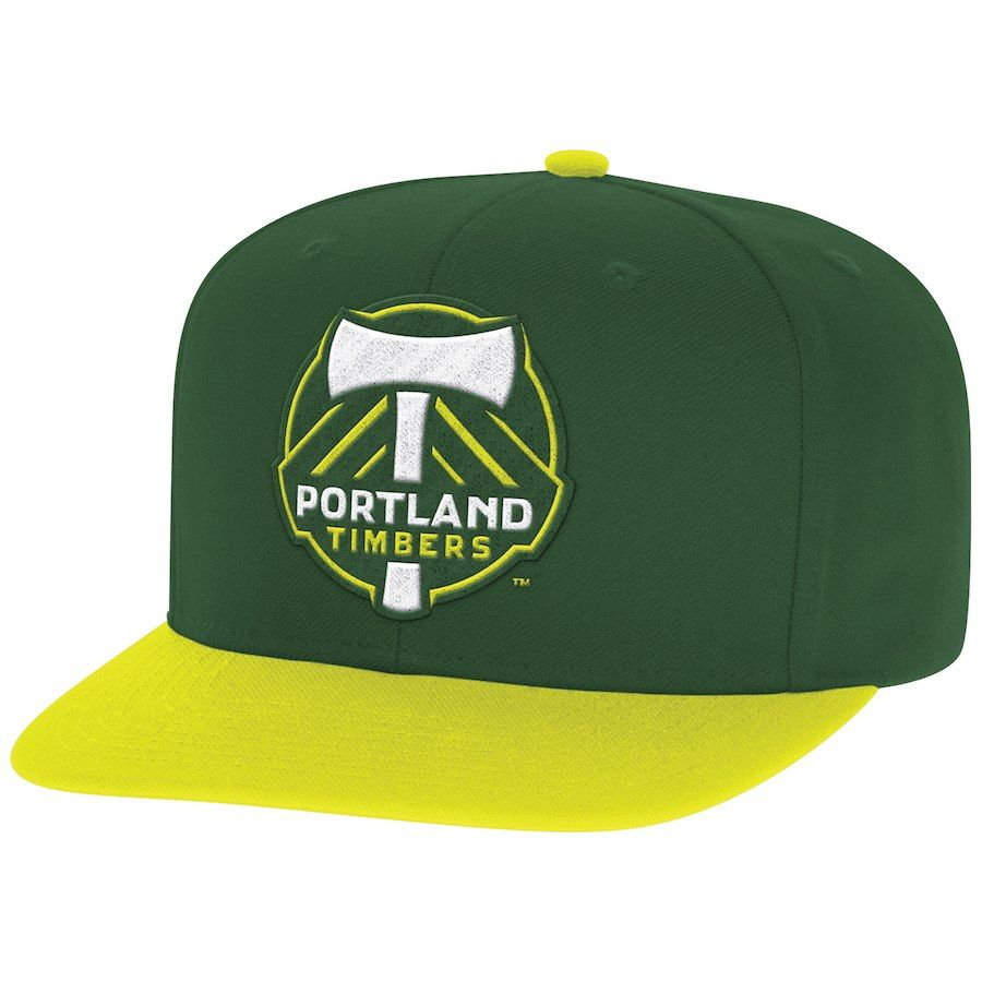 83cde4b6b86 Men s Portland Timbers Mitchell   Ness Green Yellow Two-Tone XL Logo Snapback  Adjustable Hat