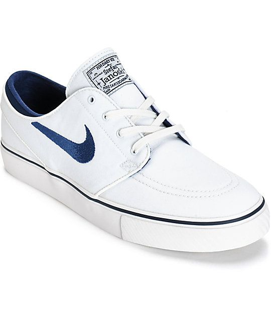 Interpretar mezcla Asado  Nike SB Zoom Stefan Janoski Summit White & Midnight Navy Skate Shoes |  Zumiez | Nike sb, Nike janoski, Nike