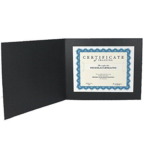 Black Cardstock Paper Certificate Folder Frame W/plain Bo