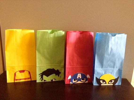 Super Hero Party Favor Bags by CharminglySassy on Etsy, $36.00