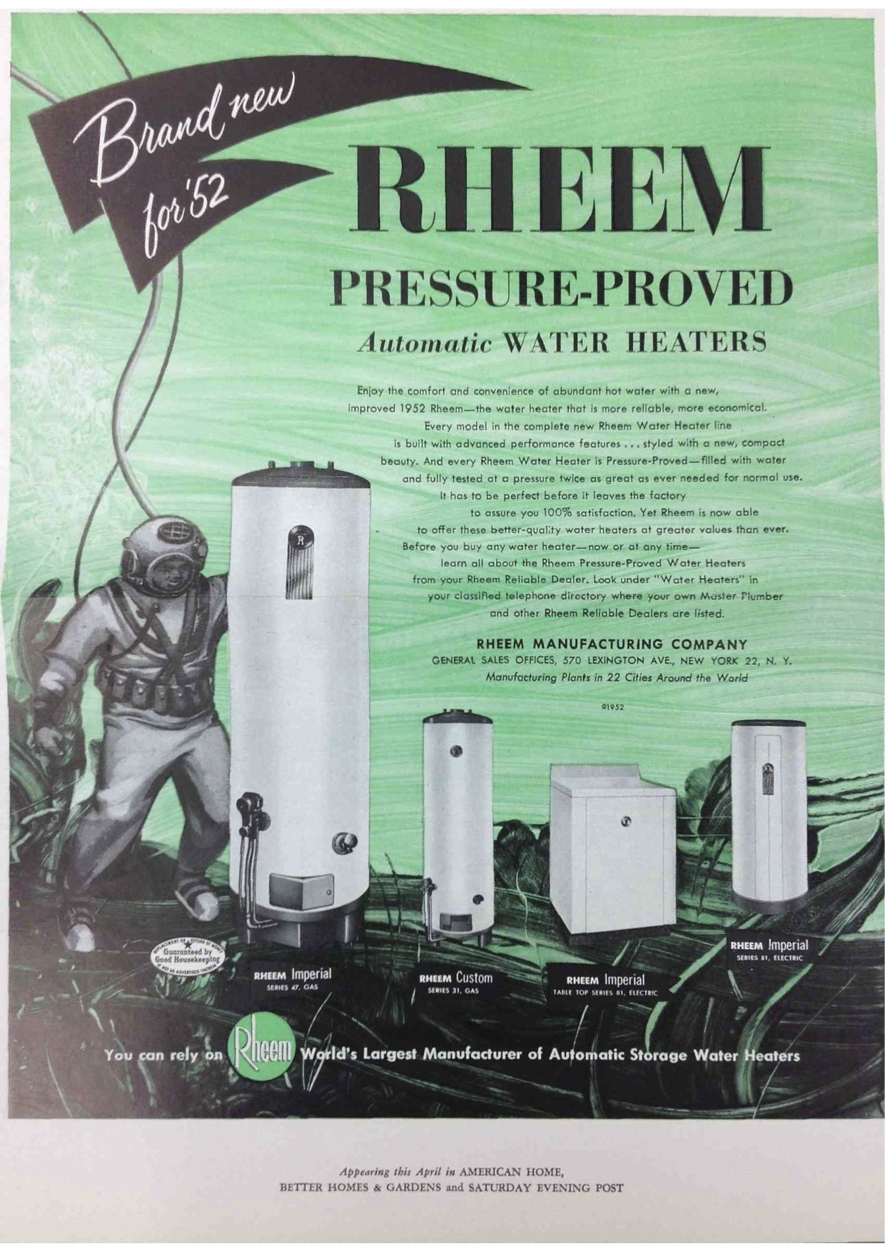 1952 Rheem Pressure Proved Water Heater Vintage Ad Appeared In Better Homes Gardens American Home And The Saturd Water Heater Lexington Company Vintage Ads