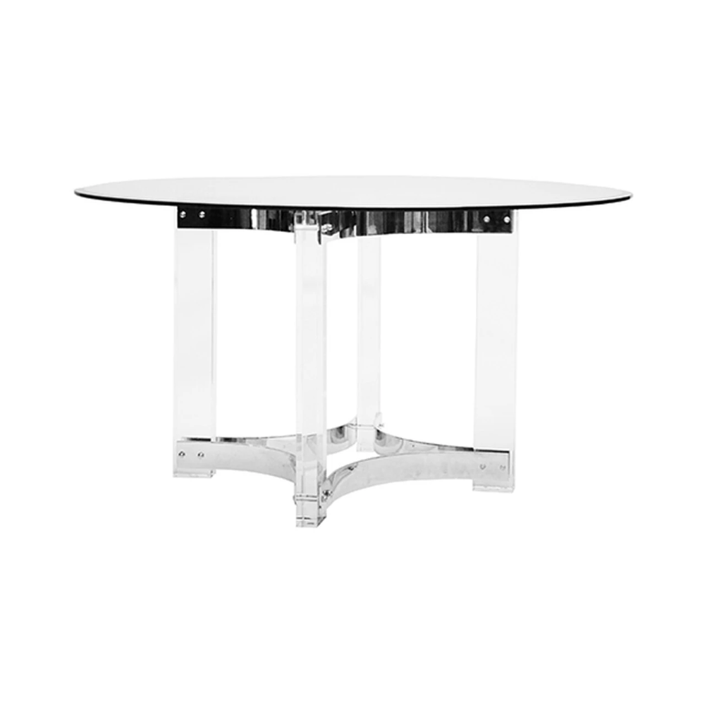 Hendrix Acrylic Dining Table Nickel Dining Table Round Dining