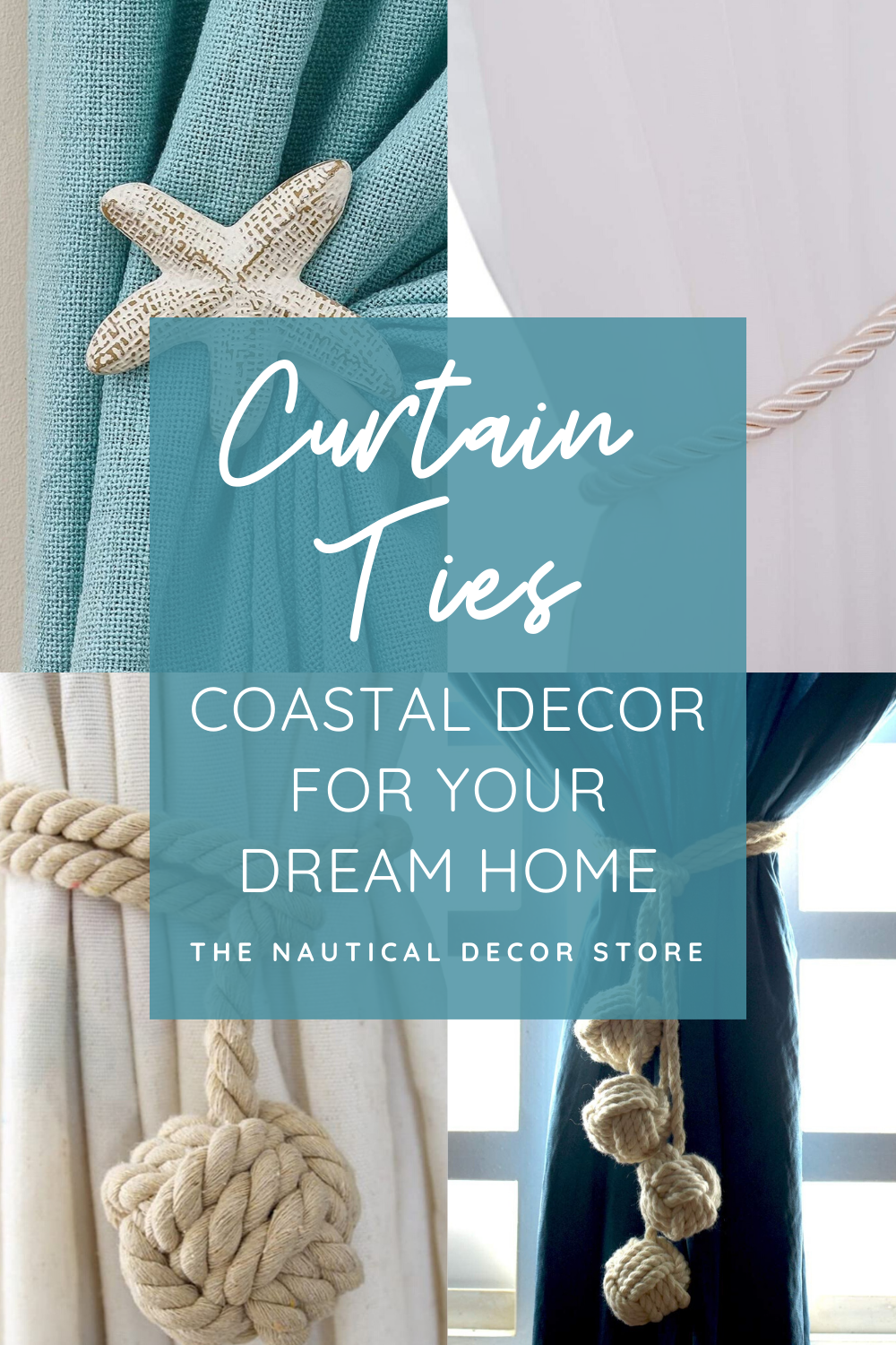 Stunning home decor for your coastal cottage, farmhouse or beach house. Choose from this range of nautical curtain ties to really bring your house together. It's always the finishing touches that make a house a home and you can start with. We have rope balls that you don't even need to drill holes in the wall for. #curtainties #coastaldecor #dreamhome #nauticaldecor