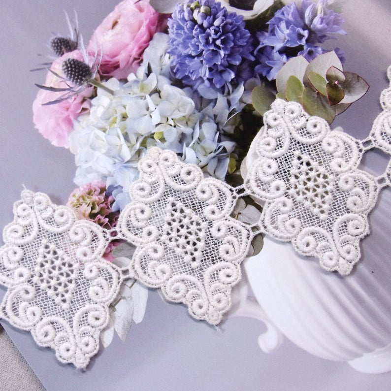 Vintage style Floral Garden Cotton Crochet Lace The 1yard #MO026