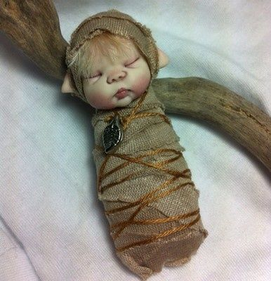"OOAK 3"" Baby Elf Bundle Doll Alliebeandolls   eBay"