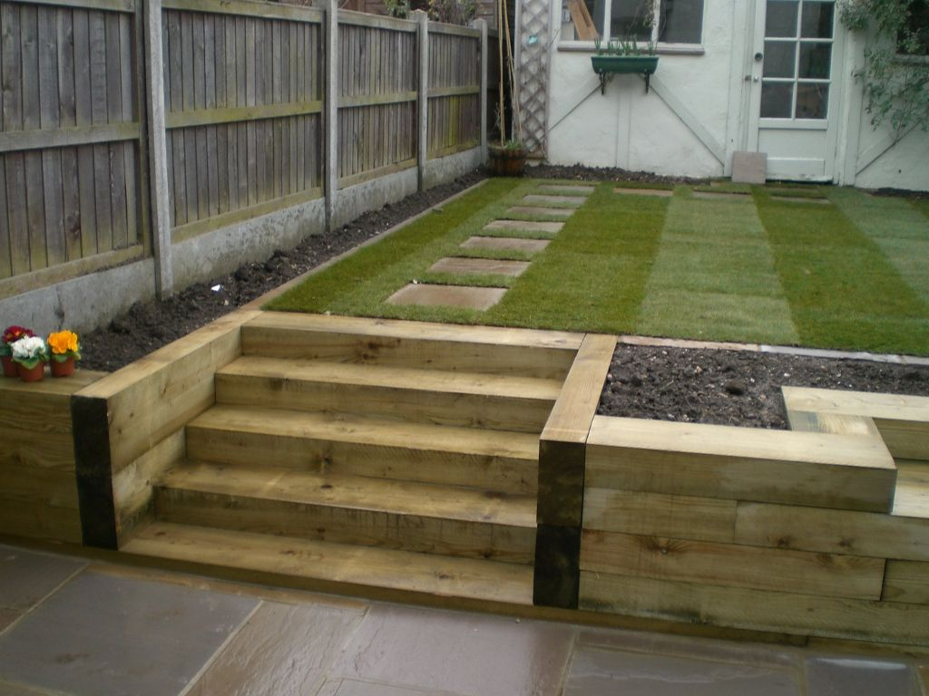 bench steps raised bed made of railway sleepers fairly plain layout but useful for ideas might need anti slip coating for wet weather