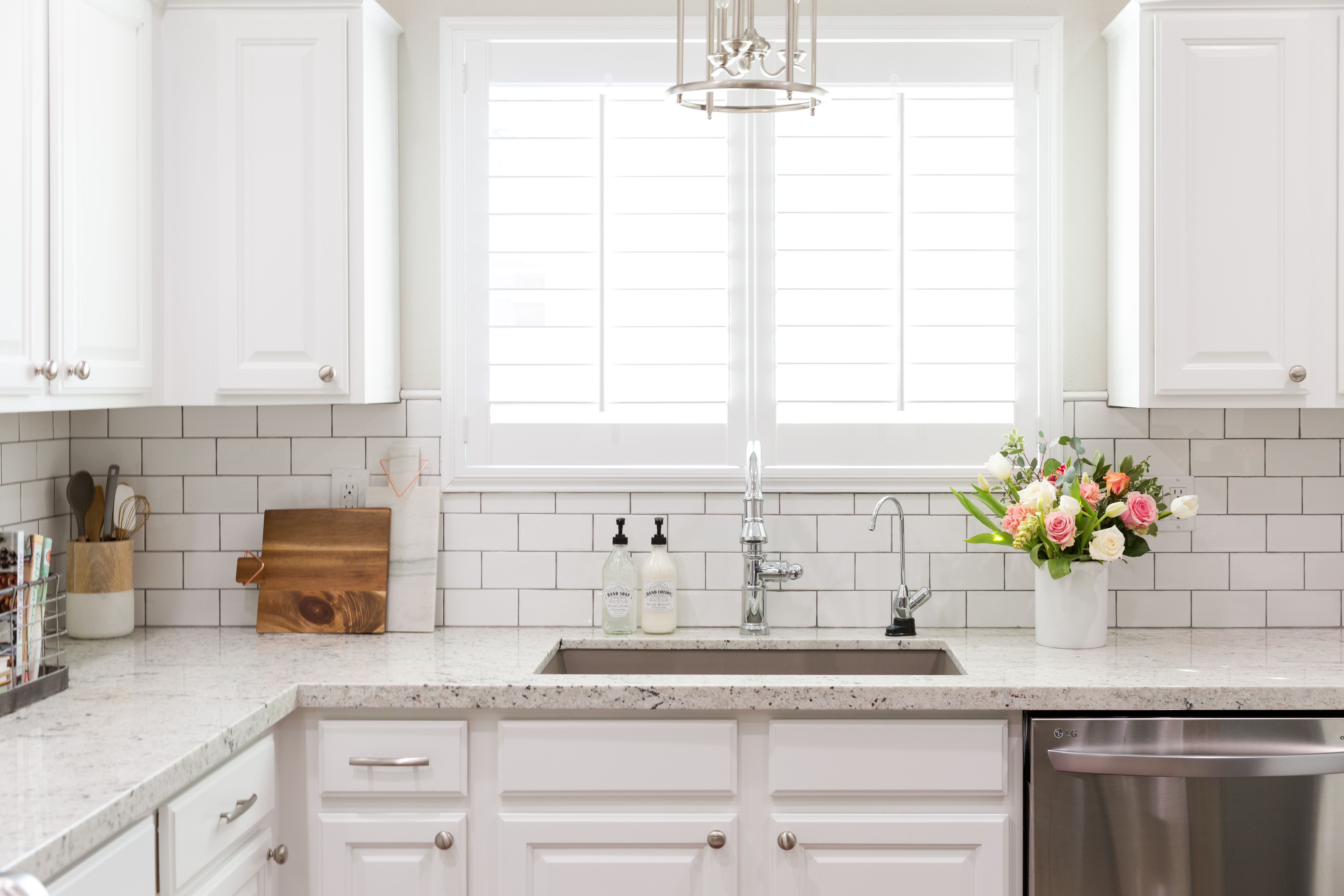 White Ice granite, white subway tile with gray grout. | Kitchens ...