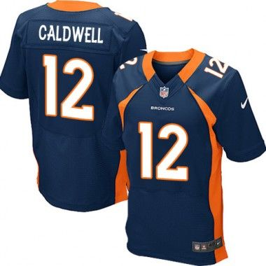 Nike Andre Caldwell Elite Men's Jersey - NFL Denver Broncos #12 Navy Blue Alternate