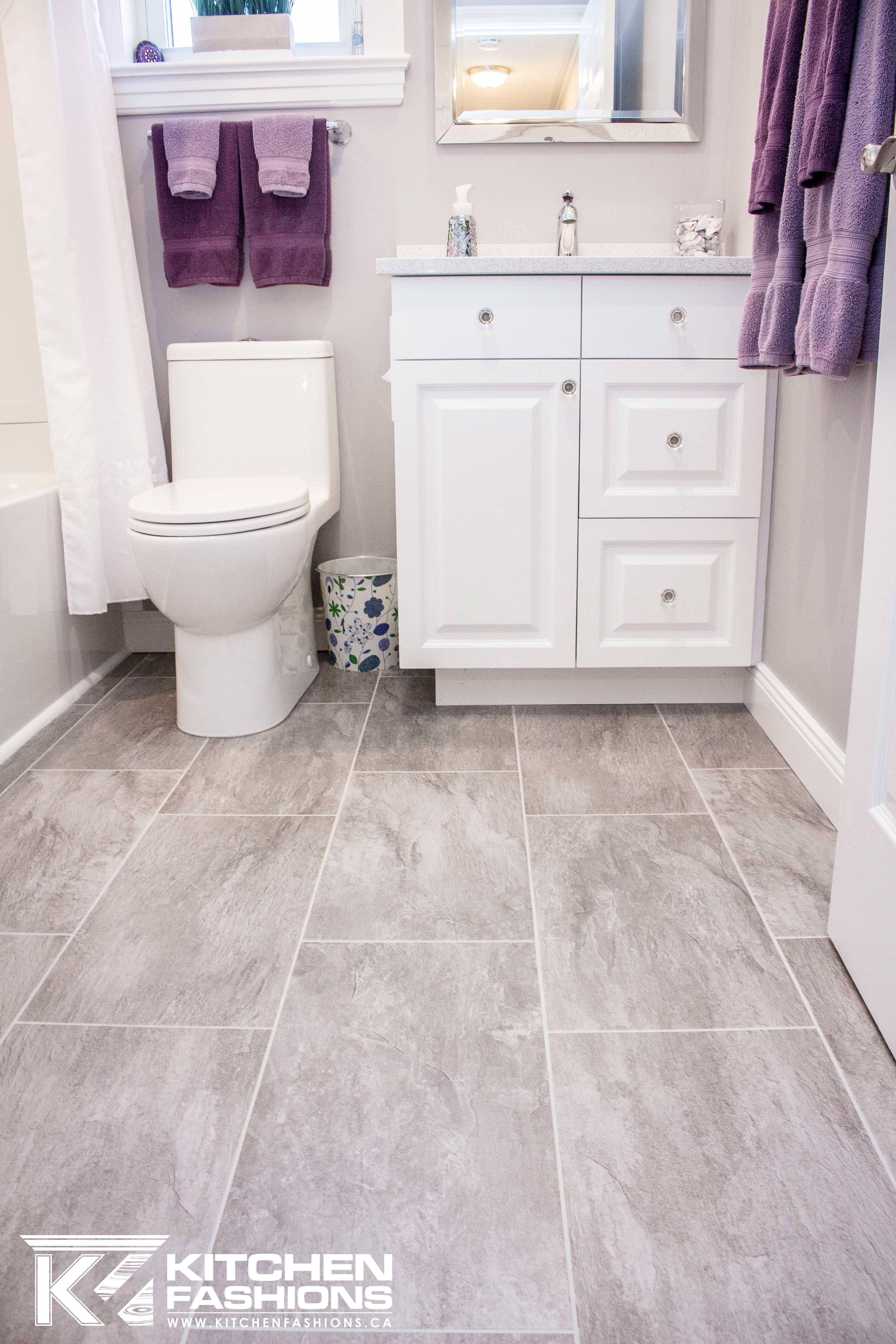 Bathroom Is White Grey And Purple Grey Lvt Flooring Lavender Towels Neutral Bathroom Decor Grey Bathrooms Toilet For Small Bathroom