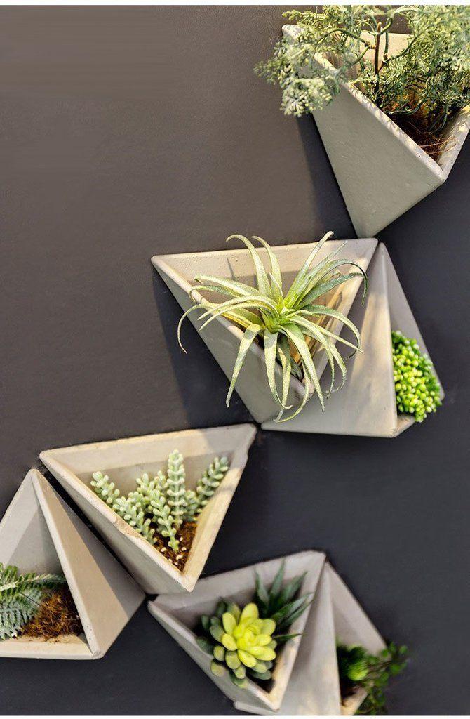 Hernan Modern Cement Triangle Wall Planter Plant Decor Indoor Succulent Wall Planter Wall Planter